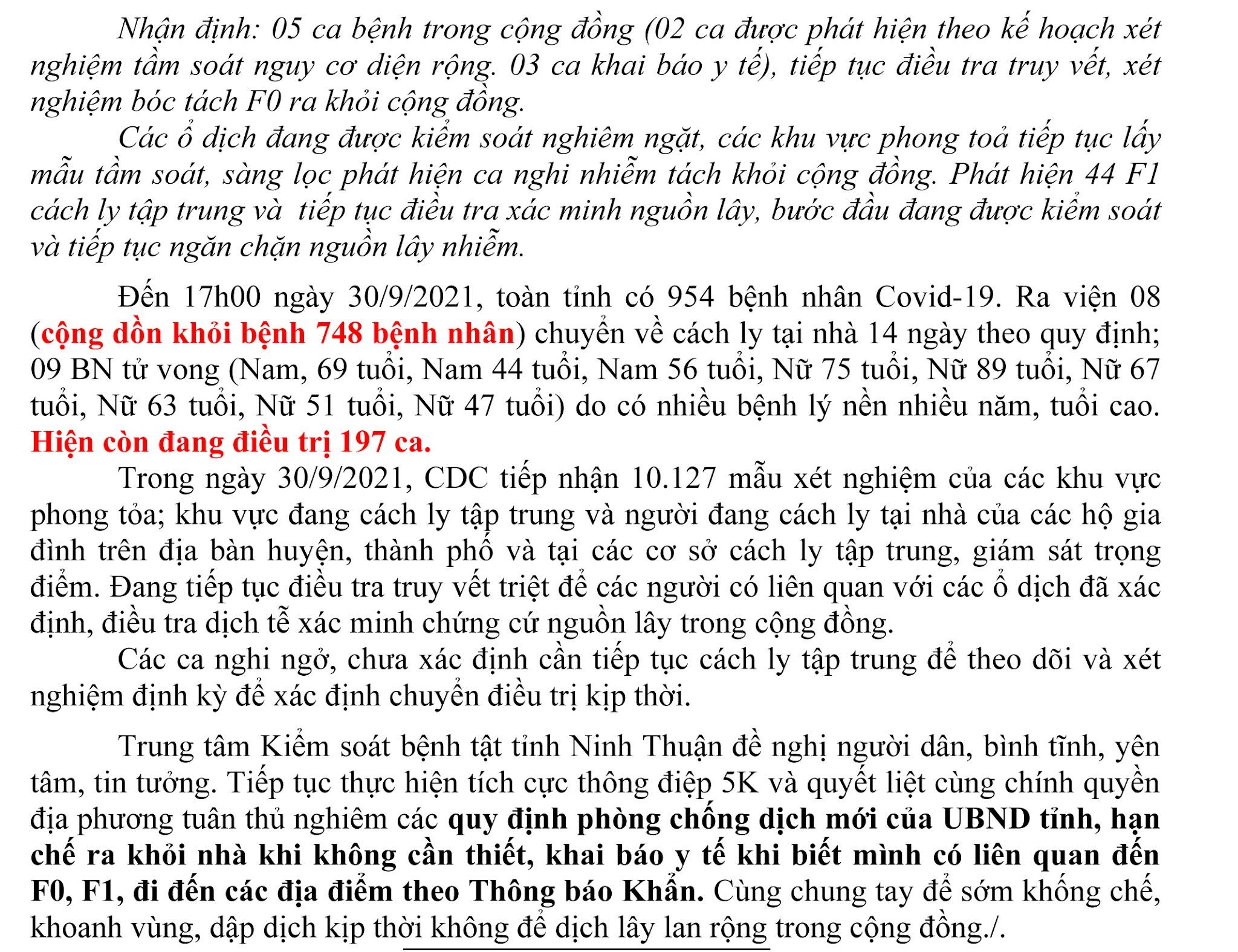 Ngày 30-9 Ninh Thuận ghi nhận 15 ca mắc Covid-19 mới trên địa bàn tỉnh