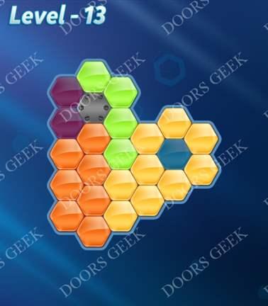Block! Hexa Puzzle [5 Mania] Level 13 Solution, Cheats, Walkthrough for android, iphone, ipad, ipod
