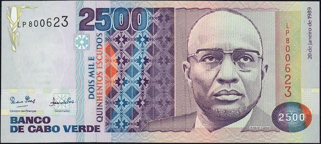 Currency of Cape Verde 2500 Escudos banknote 1989 Amilcar Cabral