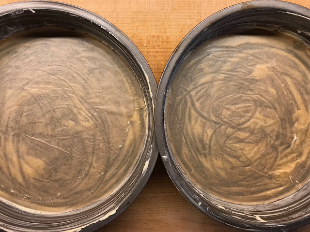 Pair of sandwich tins, lined and greased