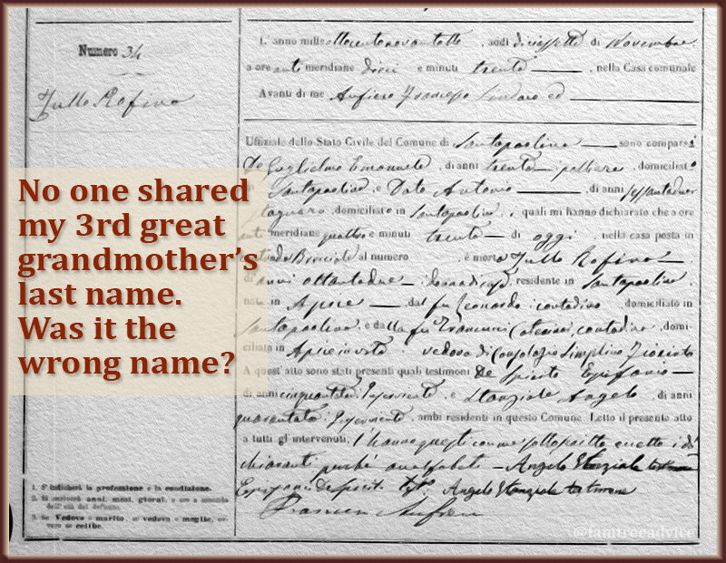 My 3rd great grandmother's same didn't make sense…until I found her death record.