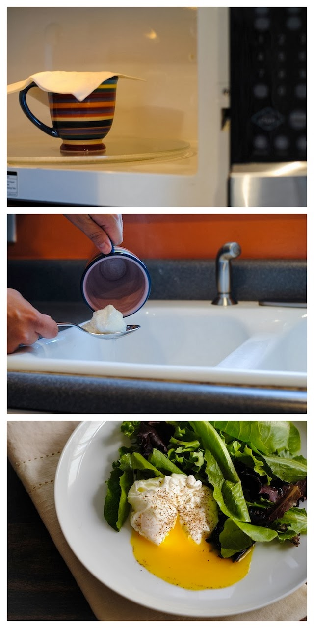 How To Poach An Egg In A Microwave - spruce up your office lunches, or use this simple technique at home! | foxeslovelemons.com
