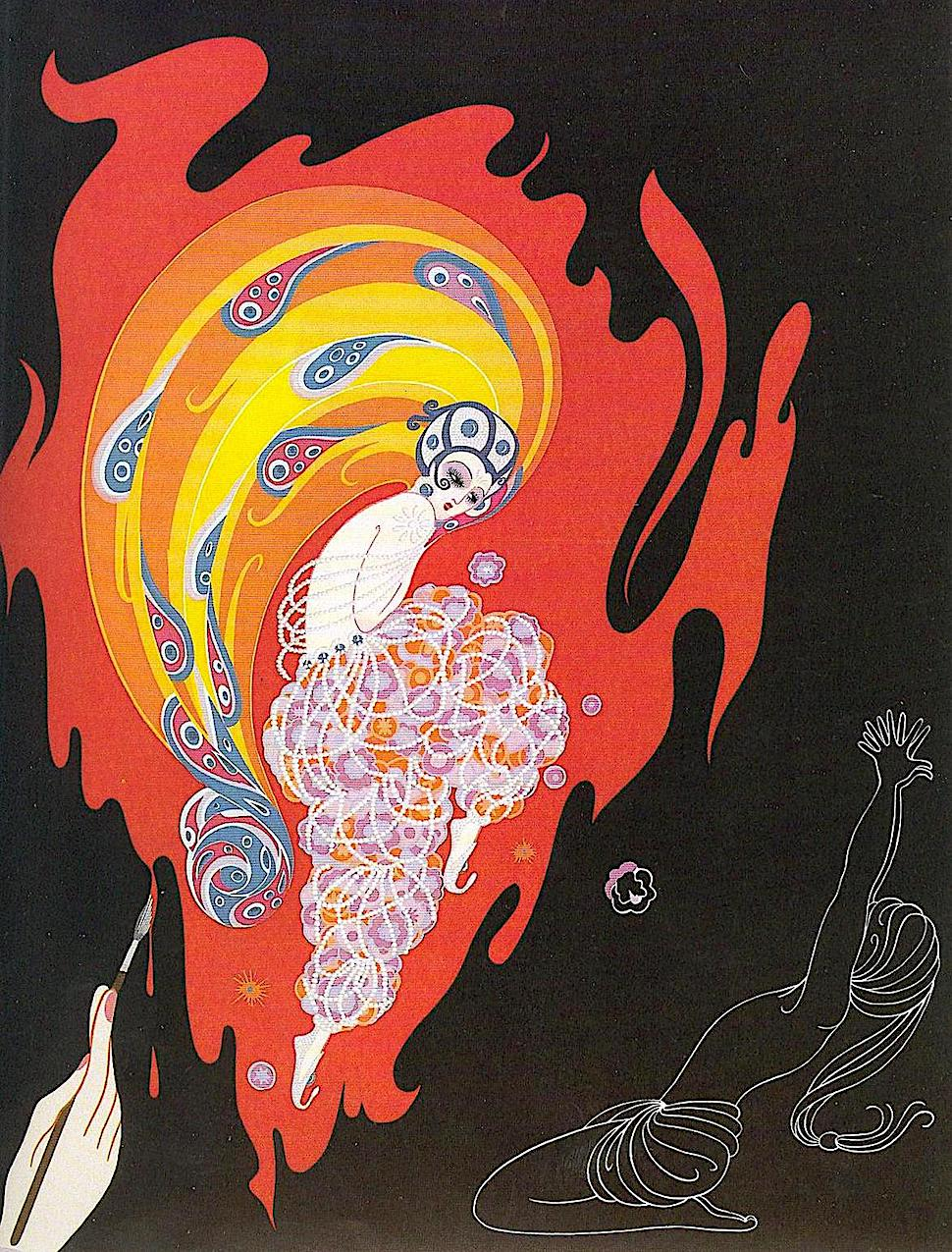 an Erté Romain de Tirtoff illustration of a woman in fire