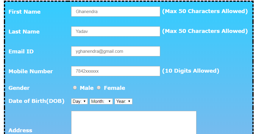 Student Registration Form Using Table in HTML and CSS