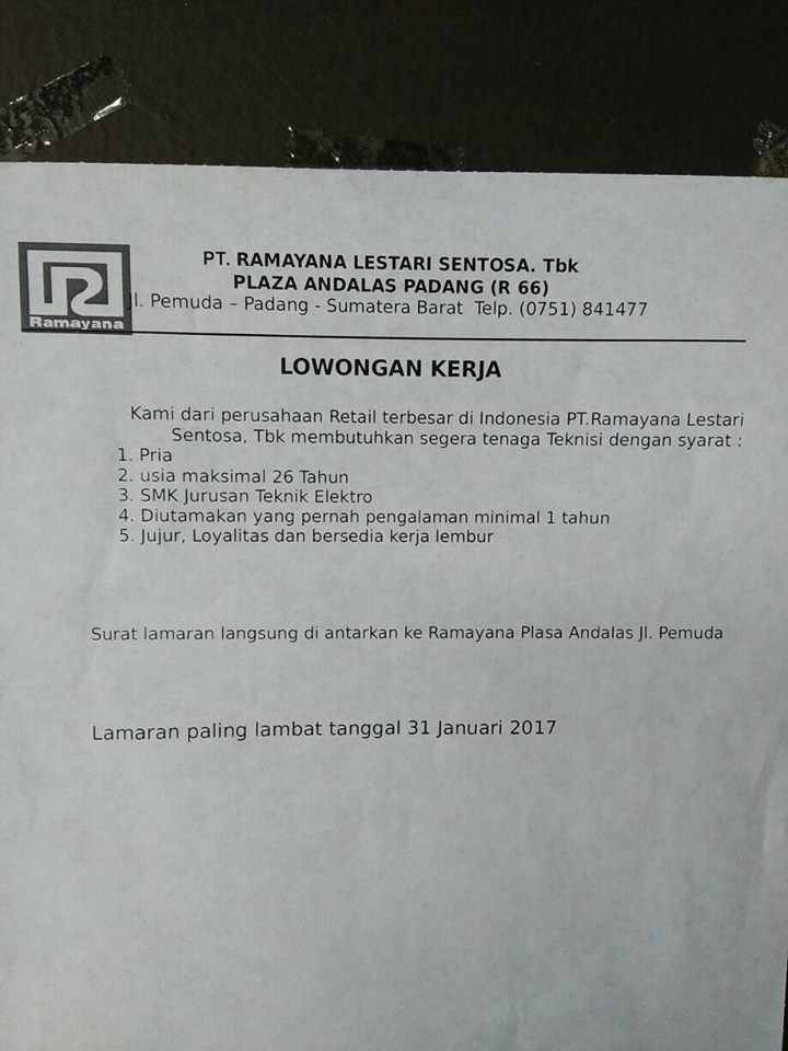 Lowongan Kerja di Padang – PT.Ramayana Lestari – Teknisi (Penutupan 31 Jan.2017)
