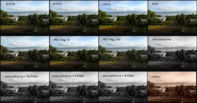 Hasil Simulasi Foto Landscape menggunakan beberapa mode film simulation pada kamera Fuji X-T10