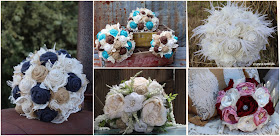 Burlap and lace bridal bouquets and flower arrangements for a rustic wedding