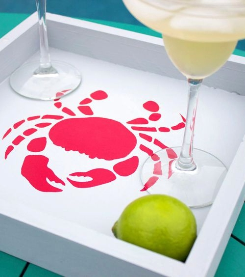 Outdoor Nautical Stencil Decorative Serving Tray Idea