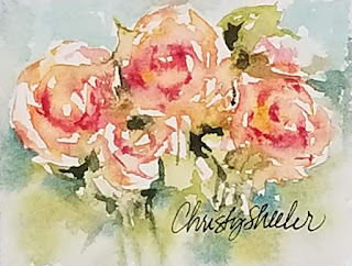Peachy Little Roses © 2020 Christy Sheeler Artist  All Rights Reserved.