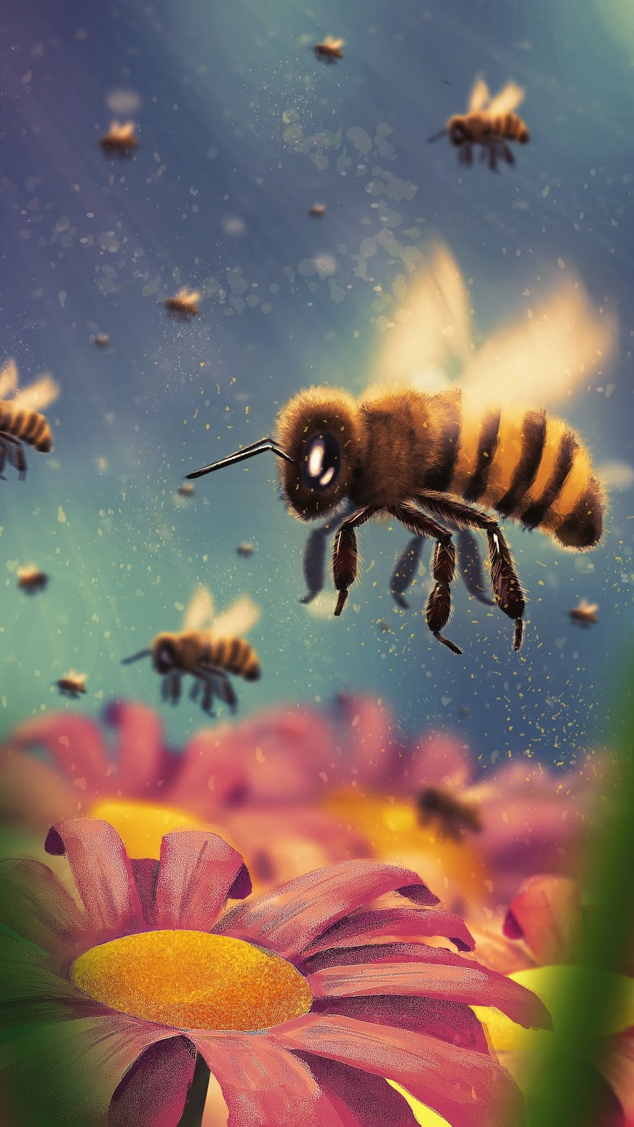 a beautiful illustration of bees and flowers in 4k or hd to use as phone wallpaper