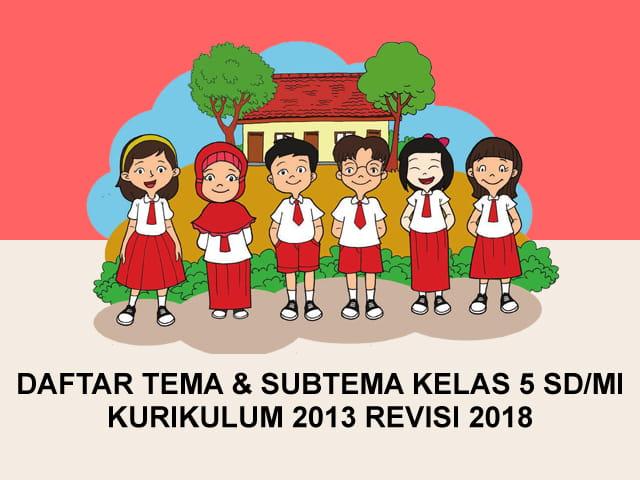 Daftar Tema dan Subtema Kelas 5 SD/MI Kurikulum 2013 Revisi 2018