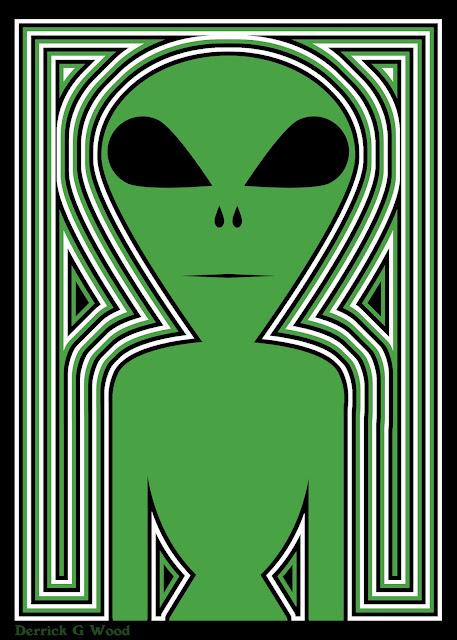 alien art tribal aliens green and black