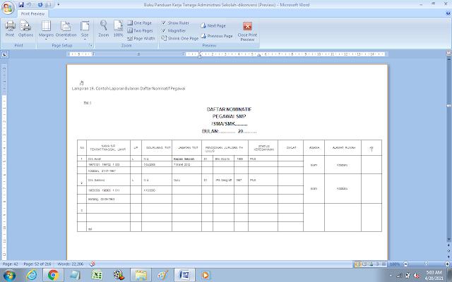Contoh Laporan Bulanan Daftar Nominatif Pegawai SMP/SMA/SMK