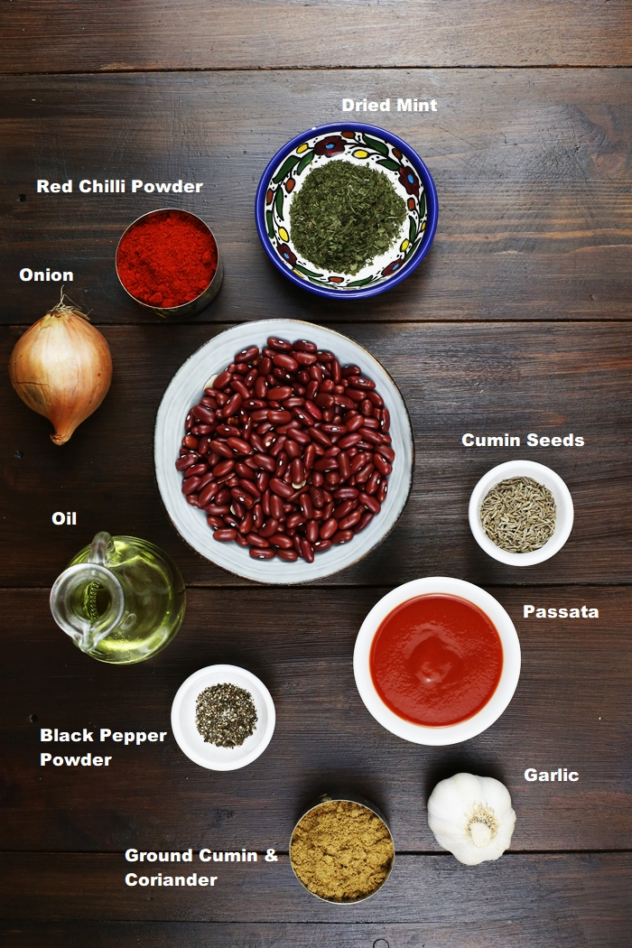 Ingredients for afghan lubiya curry