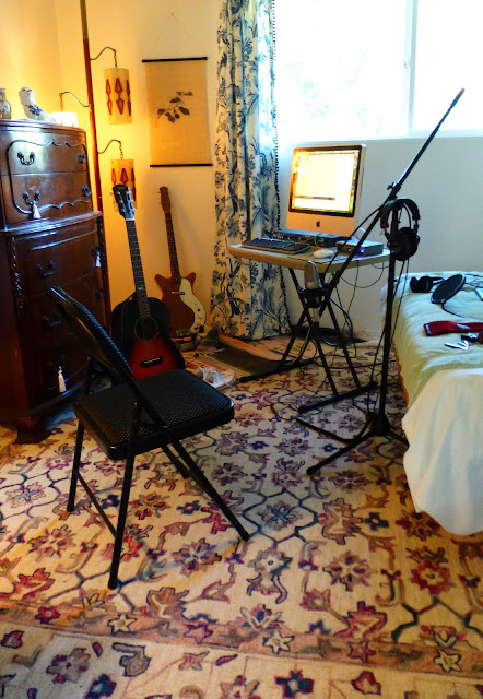 "economy recording, bedroom studio, cheap, Jimmy Clifford, Jim Clifford, James Aoyama, Shure KSM27, large diaphragm condenser, 1"" diaphragm, microphone, mic, obsolete, 2007 iMac, Bellari, RP503, Tube Channel, channel strip, M-Audio Firewire Solo, interface, Sony MD7506 headphones, Tube microphone preamp, Yamaha CSF60, parlor, acoustic guitar, Danelectro bass, Yorkville microphone stand,"