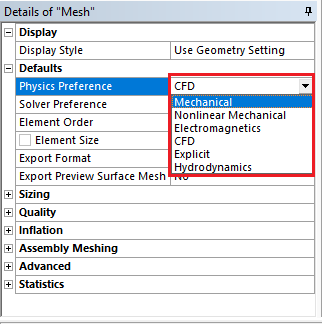 Physics Preference in ansys