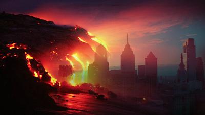 Volcán inunda ciudad con lava