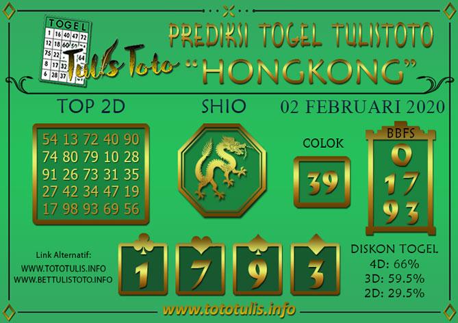 Prediksi Togel HONGKONG TULISTOTO 02 FEBRUARI 2020