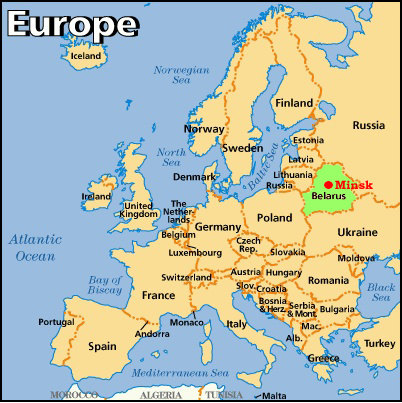 Belarus Avrupa Harita