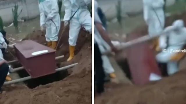 Petugas Ber-APD Terperosok ke Liang Lahat saat Pemakaman, Publik Kesal Dengar Ucapan Ini