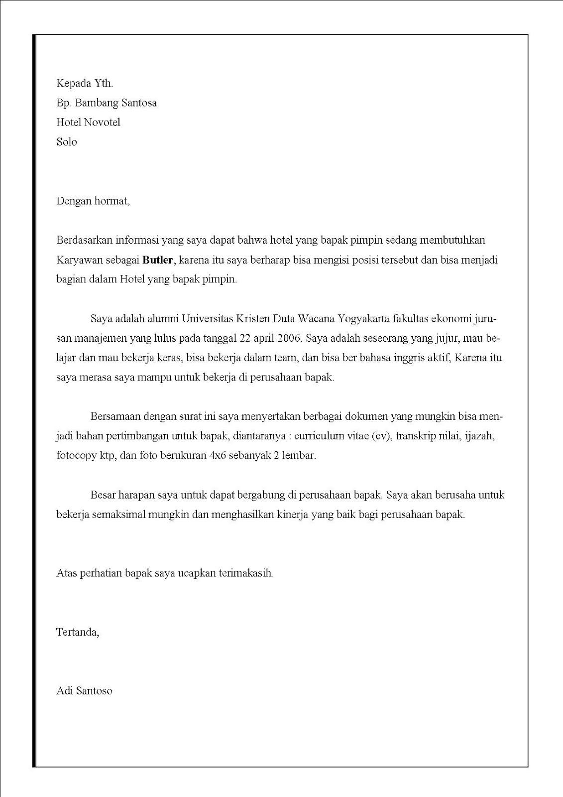 Contoh surat lamaran kerja di hotel Sebagai butler