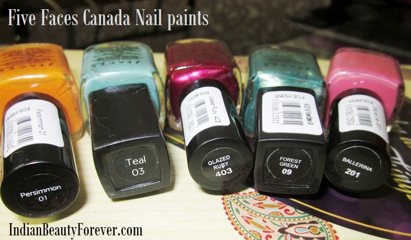 Five Faces Canada nail paints swatches price