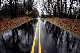 image on rain on road