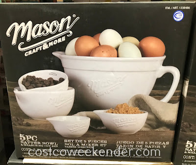 Easily measure ingredients when baking with the Mason 5-piece Ceramic Batter Bowl and Measuring Cup Set