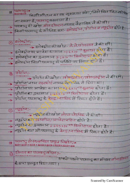 Chemistry Handwritten Notes : For All Competitive Exam Hindi PDF Book