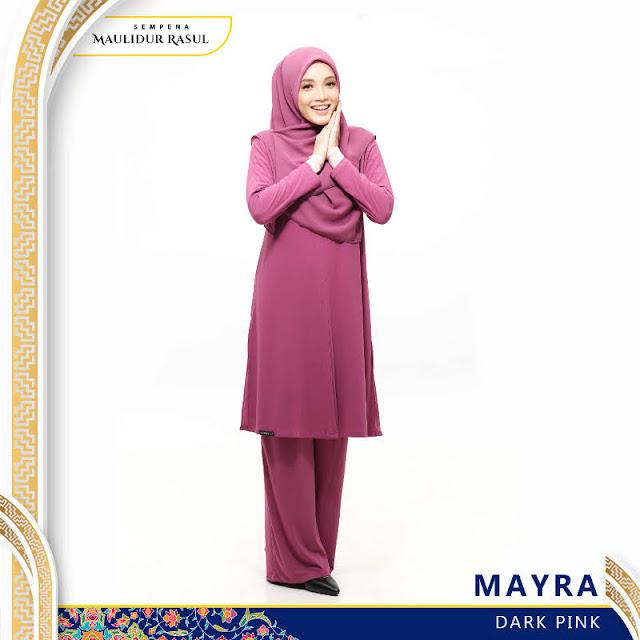 Mayra Jubah Seluar Plain Tanpa Gosok Dark Pink