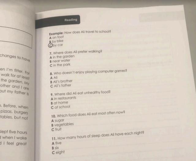 امتحان لغة إنجليزية صف سادس فصل أول