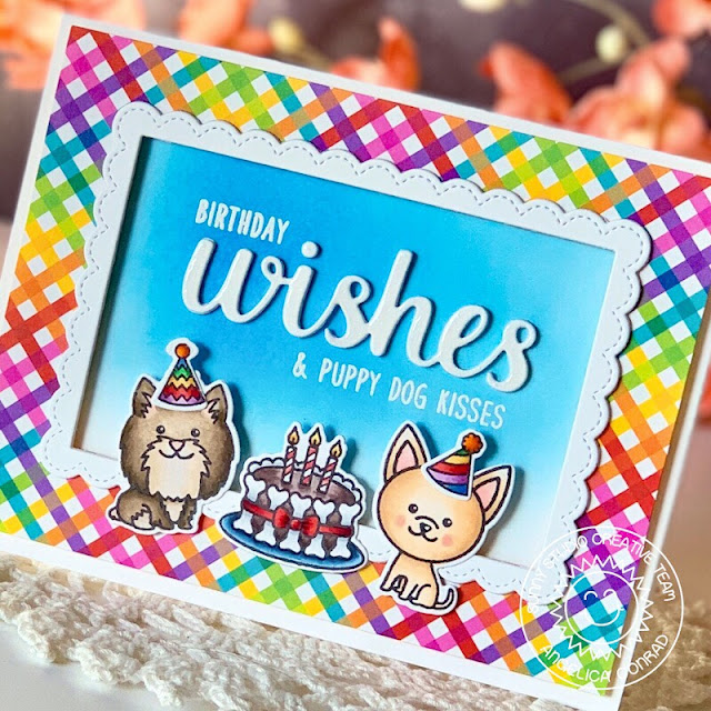 Sunny Studio Stamps: Puppy Dog Kisses Party Pups Fancy Frames Wishes Word Die Birthday Cards by Angelica Conrad