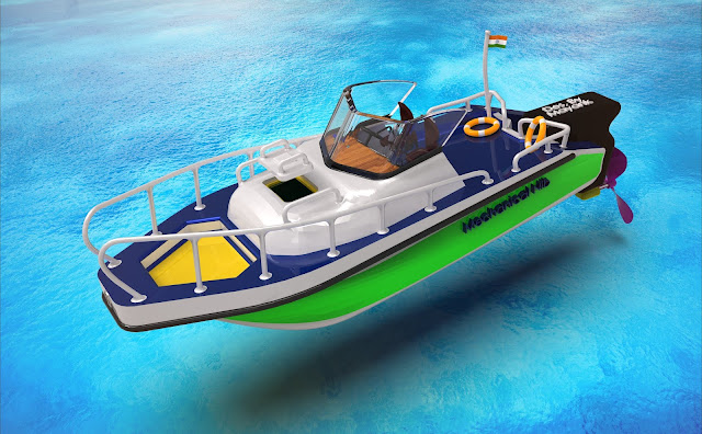 Boat designed in Solidworks by Mechanical Nib