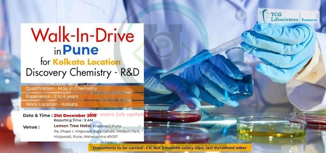 TCG Life sciences | Walk-in for Discovery Chemistry on 21 Dec 2019 | Pharma Jobs in Pune