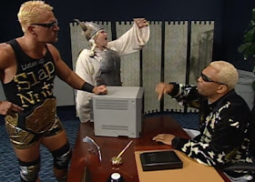 WCW Bash at the Beach - Jeff Jarrett confronts Comissioner Ernest Miller while Screamin' Mimi sings in the background
