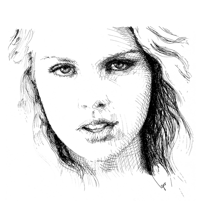 Girl, ink portrait 09.04 Cross hatching drawing