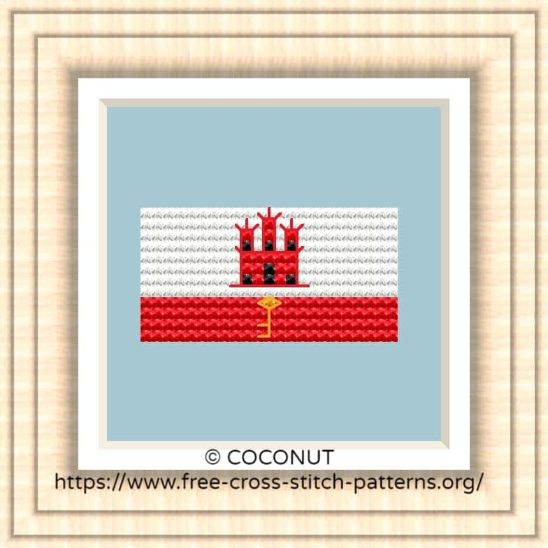 NATIONAL FLAG OF GIBRALTAR CROSS STITCH CHART