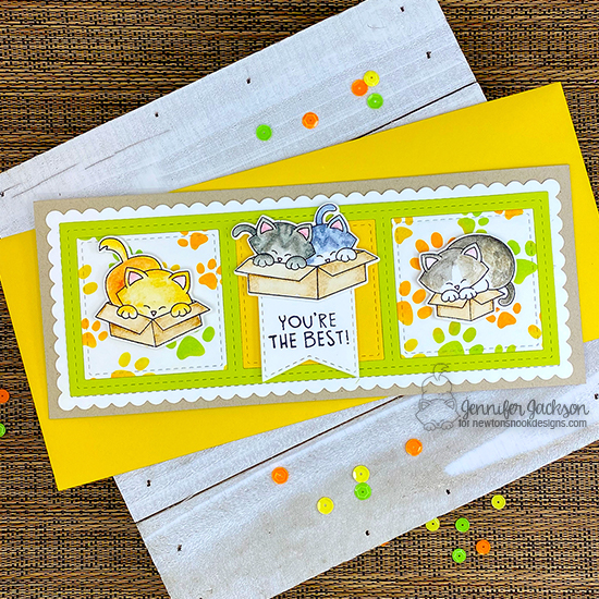 Newton's Nook Designs 7 YEAR Celebration Blog Hop! Slimline Cat card by Jennifer Jackson | Newton Loves Boxes Stamp Set, Newton's Antics Stamp Set, Slimline Frames & Windows Die Set, Slimline Frames & Portholes Die Set and Pawprints Stencil by Newton's Nook Designs #newtonsnook #handmade