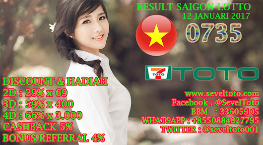 RESULT SAIGON LOTTO 12 JANUARI 2017