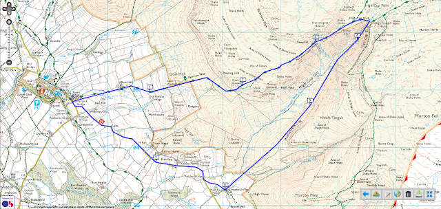 High Cup Nick Walk from Dufton, Cumbria map