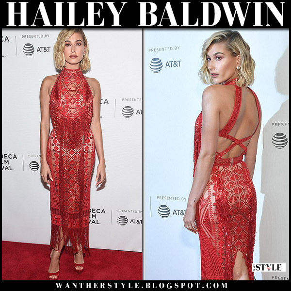 Hailey Baldwin in red sequin fringe dress zuhair murad red carpet fashion april 27