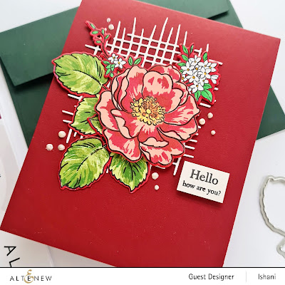 Altenew BAF Wild rose layering stamp, Build a flower stamp set - Wild rose, Rose cards, Wild rose stamp, layering stamps, altenew Burlap die, Clean and simple rose card, Turquoise rose card, Quillish, Guest designer Ishani, Altenew layering stamps