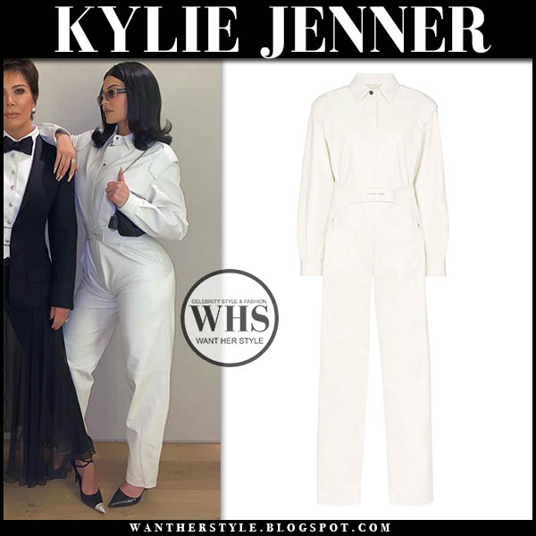 Kylie Jenner in white off-white jumpsuit and black pumps. instagram outfit december 13