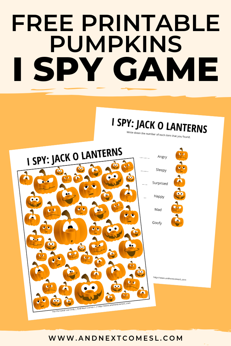 Free I spy game printable for kids: Halloween jack-o-lanterns pumpkin themed