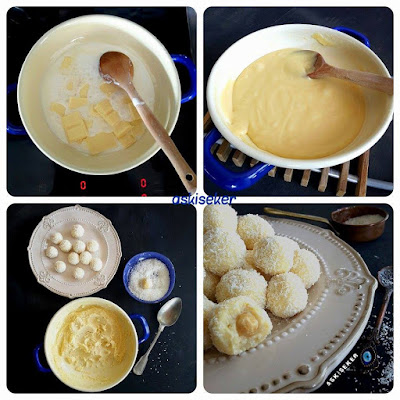 Beyaz Çikolatalı Truff tarifi nasıl yapılır kolay nefis tatlı yemek tarifleri  white choclate trufle dessert recipe delicious yummy taste tasty