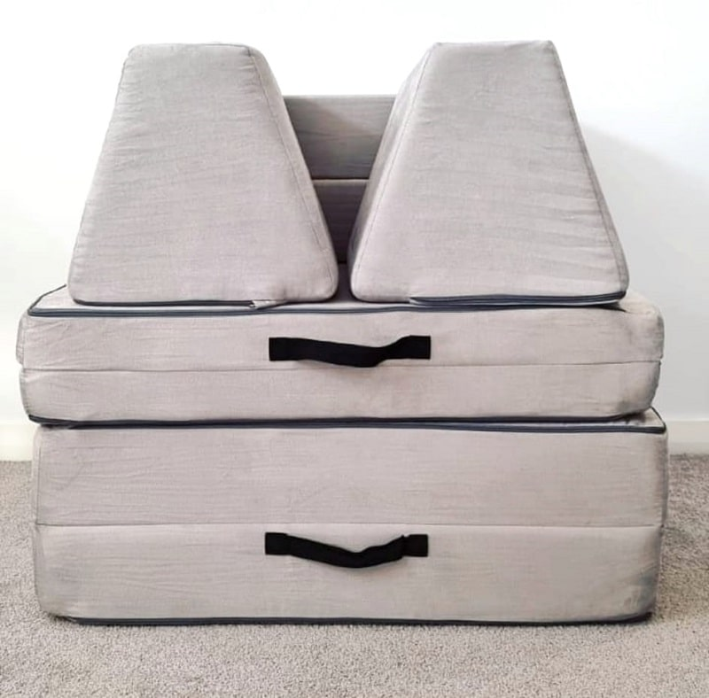 whatsie couch folded up compactly for storage
