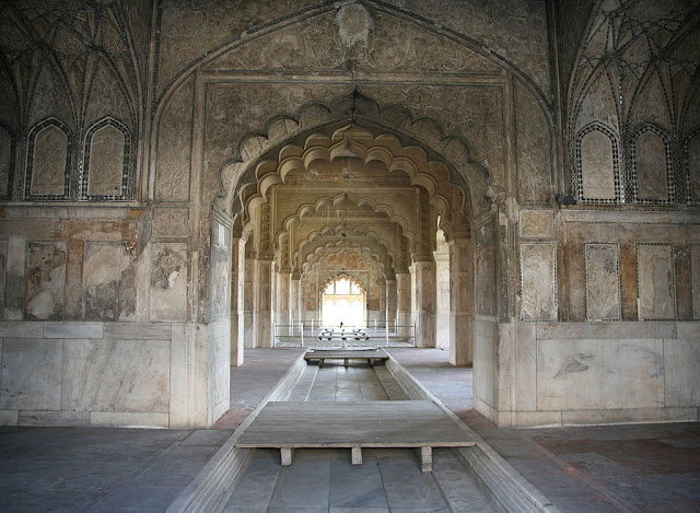 Rang Mahal - A white marble palace within Red Fort -  -  UNESCO World  Heritage site in India