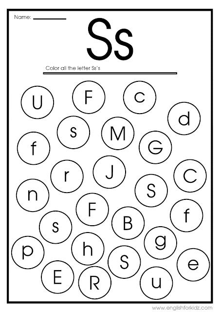 Find letter S worksheet -- printable ESL materials to teach English alphabet