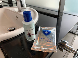 YOTEL hand sanitiser and alcohol wipe
