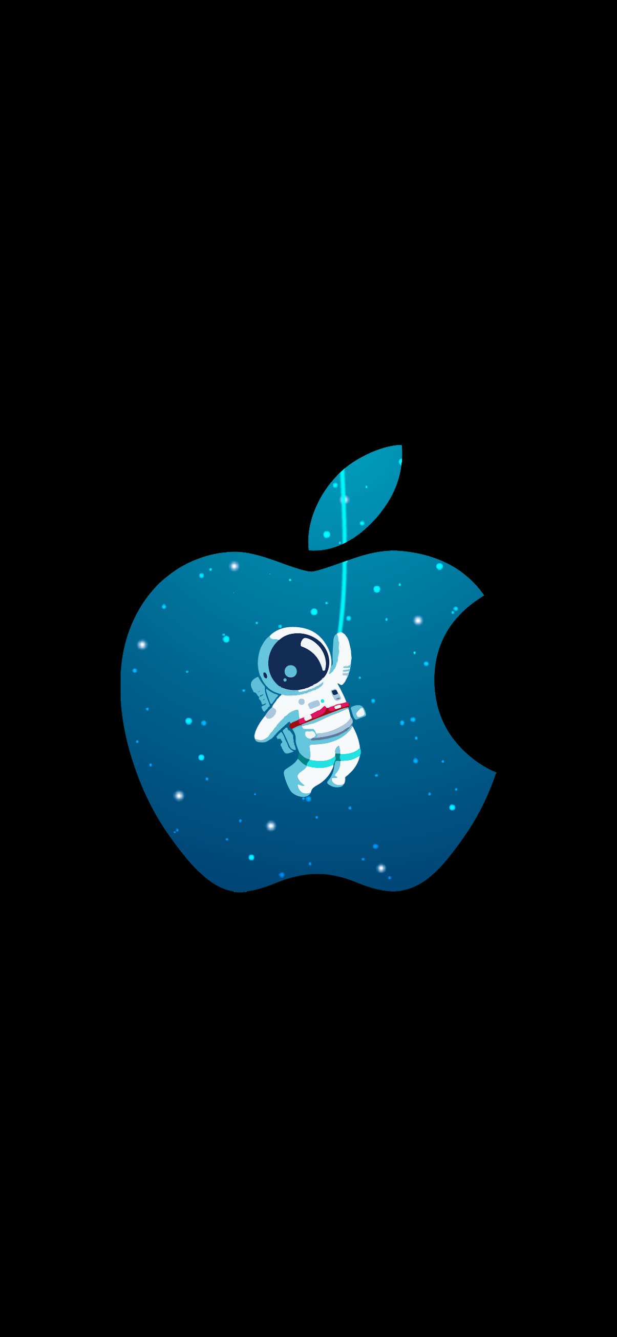 astronaut and apple logo in a beautiful oled wallpaper lock screen for iphone x 13 14 15